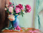 Peonies in a Blue Glass Vase